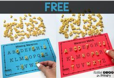 use the new Kraft ABC macaroni with these worksheets for students to work on matching up letters & filling in missing letters