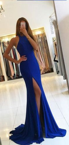 Royal Blue Mermaid Prom Dress,Side Slit Evening Dress,Mermaid Evening Gowns,Sleeveless Formal Dress,Sexy Split Prom Dresses Long