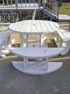 Table and benches made from wooden spool.   So creative!