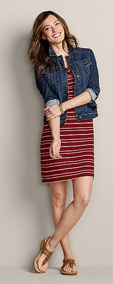 This dress is a bit shorter than I would wear, but the look is cute and it seems comfortable. I have a jean jacket.