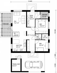 Pablo 82m2 | JÄMERÄ KIVITALO - Terveellisen rakentamisen puolesta Small Houses, Tiny House, Carport Garage, Apartment Floor Plans, Apartment Layout, Facade House, Small House Plans, Large Homes, Bungalows