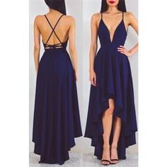 High Low Prom Dress,Fashion Prom Dr.. ❤ liked on Polyvore featuring dresses, hi lo prom dresses, blue dress, hi lo dress, dip hem dresses and blue hi low dress