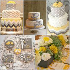 Pasteles y recuerdos de boda en amarillo y gris - Estas cookies son para darles un mordisco YA!