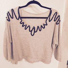 Oatmeal sweater with embroidery Cute sweater I bought from Korea last year. Sweaters Crew & Scoop Necks