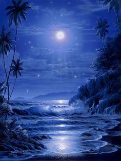 seascape in moonlight