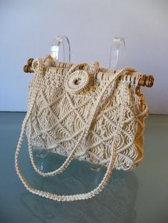 Bolso de Macrame Pappagallo vintage por TheOldBagOnline en Etsy