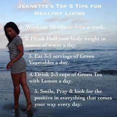 @msjeanettejenkins~Top 5 tips for healthy living
