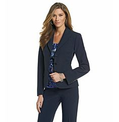 A navy suit - business professional - works for the office or an interview.