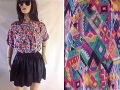 Tribal silk blouse Vintage Oversized tribal by sixcatsfunVINTAGE