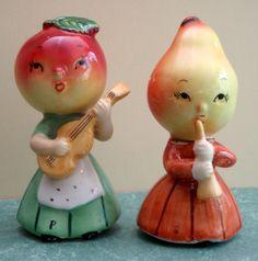 "Vintage Napco salt & pepper,anthropomorphic fruit women musicians 4"", very nice!   eBay"