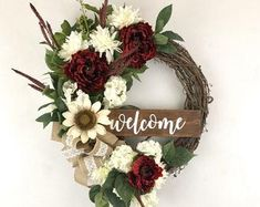 Fantastic Images Wreath for Front Door tulle Style The entry way wreath contributes your finishing hits to your dwelling, doing it your hot welcome thi Wedding Door Wreaths, Bridal Shower Wreaths, Wedding Doors, Wreaths For Front Door, Farmhouse Christmas Decor, Rustic Christmas, Christmas Wreaths, Christmas Ideas, Artificial White Roses