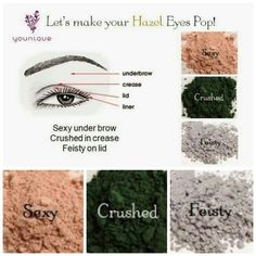 Try using Younique's Moodstruck Mineral pigments in the colors sexy, crushed, and feisty to really make your Hazel eyes pop! https://www.youniqueproducts.com/AMSommese
