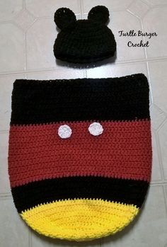 FREE CROCHET PATTERN: Mickey Mouse newborn cocoon with matching hat.