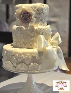 Vintage Lace Wedding Cake by Babyberry Couture Cakes