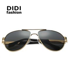 9d48501330 FuzWeb DIDI cool pilot Polarized Sunglasses Men luxury Gold big metal frame  Driving Eyeglasses military goggle coating Oculos H622