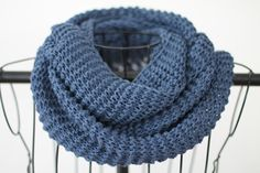 Cotton Hand Knit Infinity Scarf in Ocean Blue