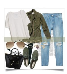 """""""Street style"""" by jelena-678 ❤ liked on Polyvore featuring Monki, Nili Lotan, Fine Collection, Keds, Forever 21 and Ray-Ban"""
