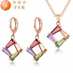 Moda Coloridos Conjuntos de Joyas CZ Diamond Oro Rosa Plateado Collar y Aretes Hipoalergénicos JS0068 Cobre Establece para Las Mujeres Del Partido