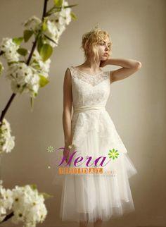 Unique A line Tulle and Lace Short Wedding Dress
