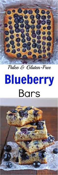 A delicious snack bar bursting with blueberries, these Paleo Blueberry Bars are sweet enough to curb any sugar craving but wholesome enough to be eaten at breakfast! Paleo Sweets, Paleo Dessert, Gluten Free Desserts, Dessert Recipes, Paleo Recipes, Free Recipes, Sweet Desserts, Top Recipes, Keto Desserts