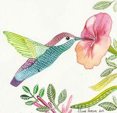 BirdHummingbird with Flower / Wall Art / Print by sublimecolors, $9.99