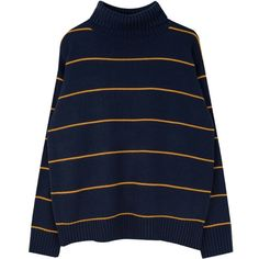 365BASICTurtleneck Stripe Knit Top | mixxmix ($33) ❤ liked on Polyvore featuring tops, turtle neck top, blue striped top, loose turtleneck, loose tops and striped turtleneck