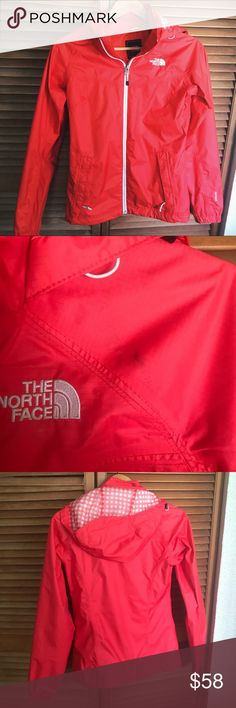 The North Face Windbreaker Rain Jacket Red A couple black scuff marks that would come out easily with washing, shown in photos! Otherwise perfect condition. Completely waterproof. The North Face Jackets & Coats Utility Jackets