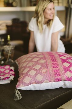 Antique Chinese Wedding blanket transformed into a floor pillow by Diani Living. More on Couldihavethat.com.
