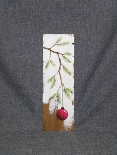 Short Pine needle, Hand painted Christmas decor, Christmas decoration, Christmas Gift, Pine Branch with Red Bulb, Reclaimed barnwood, Pallet art, Shabby chic, Christmas tree Original Acrylic painting on reclaimed barnwood boards. This unique piece is appx. 17 tall by 5 1/4 wide. It is a fun, personal touch to add to your Christmas decor or a great gift for teachers. The CHRISTMAS bulb can be ordered in any color!! All of my creations are made of reclaimed boards. They are hand painted...