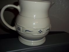 Longaberger Pottery Woven Traditions Blue Pitcher