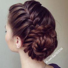side braid & fishtail bun