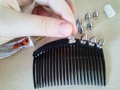 Studded hair accessory.