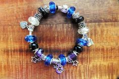 Starry Night - A European Silver-Plated Charm Bracelet fashioned after Van Gogh's Painting, Blue Yellow, Violet Hues, Dangle Charms STN11216 by BlingItOutLoudCharms on Etsy