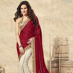 Red Faux Crepe Jacquard and Faux Georgette Jacquard Saree with Blouse