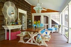 Haus and Home - white and brown trestle dining table