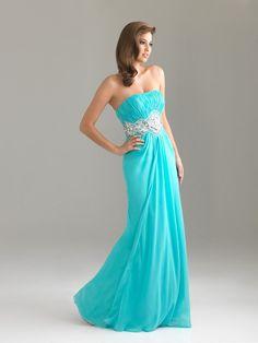 A-line Strapless Emerald Rhinestone Chiffon Floor-length Prom Dress at Millybridal.com