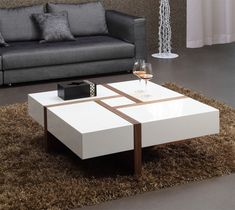 15 Awesome And Unique Furniture Ideas For Modern Living Room Design Modern Square Coffee Table, Walnut Coffee Table, Coffee Table With Storage, Coffee Table Design, Contemporary Coffee Table, Coffe Table, Centre Table Living Room, Center Table, Centre Table Design