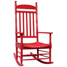 Porch Rocker Turned Post Red Outdoor Rocking Chair - Style # 4F667