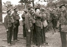 51st Highland division donning gas masks.