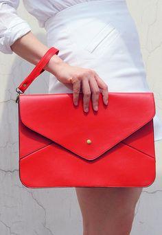 Oversize Vegan Leather Envelope Clutch - Red Purse Bag Handbag - Women Ladies - Handmade