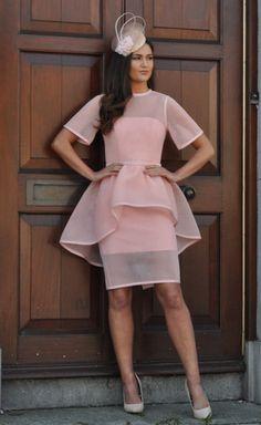 Peach Peplum Dip Back Dress - Lady VB