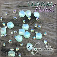 Swarovski's 4470 Chrysolite crystal is Custom Coated with E. H. Ashley's Custom Pastel effect #Swarovski #CustomCoating #CustomPastels #Bling #Crystals #Chrysolite