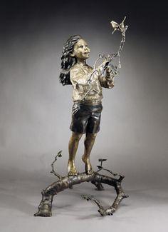 Friends in High Places (life-size)- A bronze sculpture by Mark Hopkins Bronze Sculpture, Statue, Ceramics, Fictional Characters, Friends, Life, Art, Sculptures, Parents