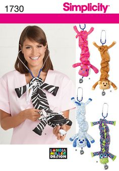animal cover on stethoscope sewing pattern | ... pattern 1730 size os one size five fun animal stethoscope covers great