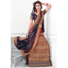 Orange Net #Lehenga With Contrasted Blue Choli With Dupatta  #IndianLehenga #WomenClothing #EthnicWear #WomenWear #WomenFashion