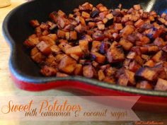 Sweet Potatoes with Cinnamon & Coconut Sugar - Real Food Outlaws Vegetarian Recipes Easy, Real Food Recipes, Healthy Recipes, Healthy Foods, Paleo Sweet Potato, Sweet Potato Recipes, Paleo Side Dishes, Vegan Dishes, Coconut Sugar Recipes