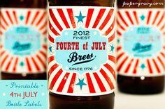 Fourth of July Bottle labels. #craftbeer #homebrew