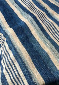 Indigo stripe rug.