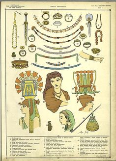 Typical decoration pieces from ancient Egypt. The gold jewelry; the ellaborate head- and neckpieces, earrings etc. Interesting fact: silver was not found in Egypt and had to be imported so that its use was limited. So the Egyptians prized their gold and used it in a lot of their decorations/ornaments.
