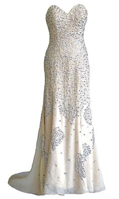 FairOnly Custom Made Sweetheart Crystal Champagne Formal Prom Evening Dresses